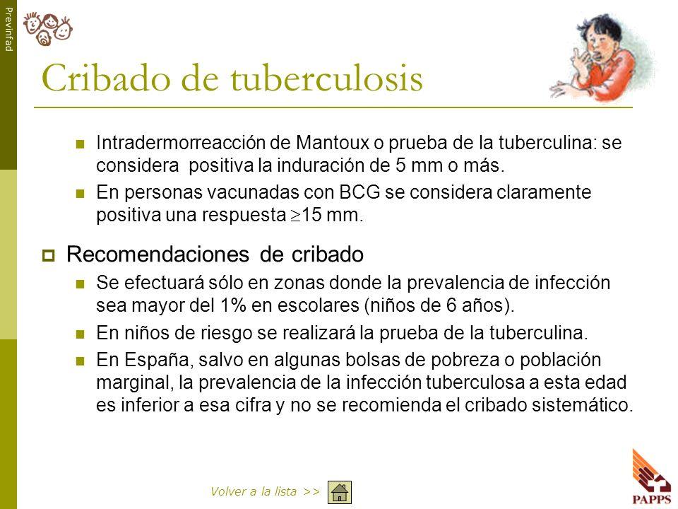 Previnfad Cribado de tuberculosis Intradermorreacción de Mantoux o prueba de la tuberculina: se considera positiva la induración de 5 mm o más. En per
