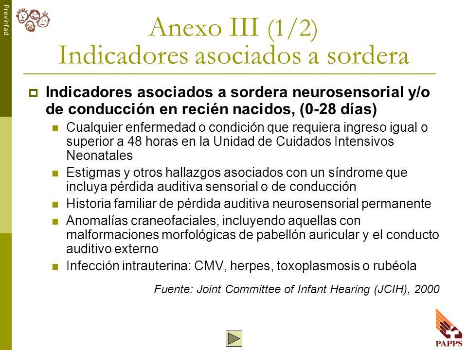 Previnfad Anexo III (1/2) Indicadores asociados a sordera Indicadores asociados a sordera neurosensorial y/o de conducción en recién nacidos, (0-28 dí