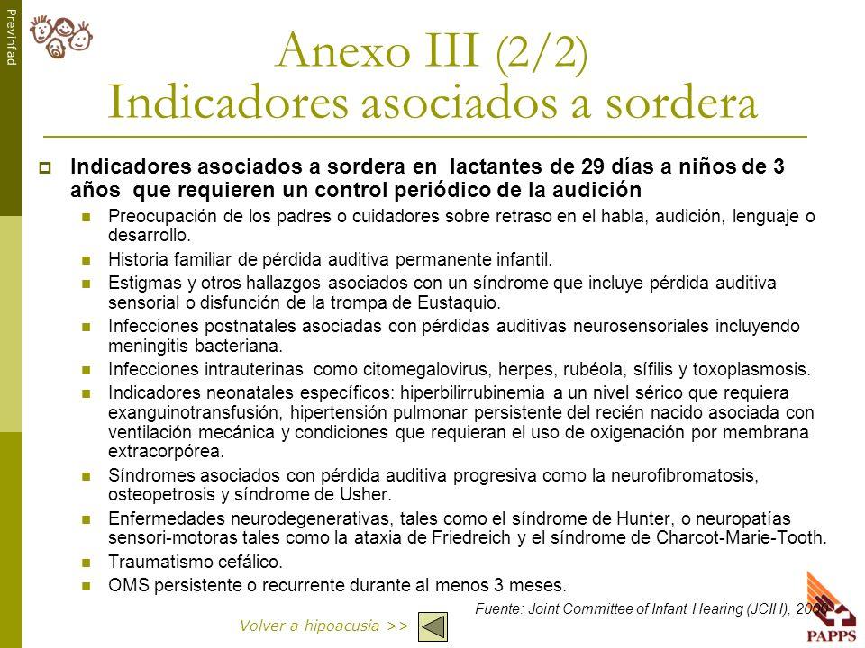 Previnfad Anexo III (2/2) Indicadores asociados a sordera Indicadores asociados a sordera en lactantes de 29 días a niños de 3 años que requieren un c
