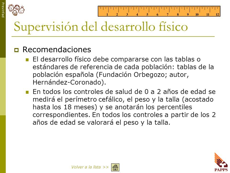 Previnfad Supervisión del desarrollo físico Recomendaciones El desarrollo físico debe compararse con las tablas o estándares de referencia de cada pob