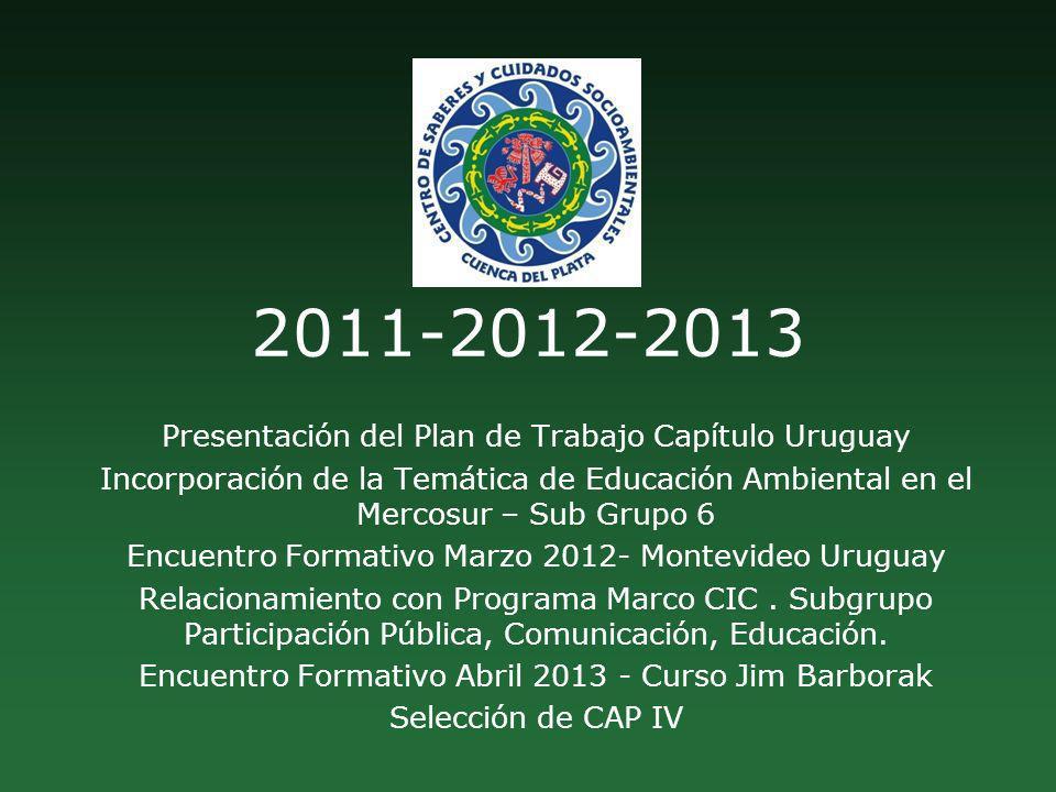 2011-2012-2013 Presentación del Plan de Trabajo Capítulo Uruguay Incorporación de la Temática de Educación Ambiental en el Mercosur – Sub Grupo 6 Encu
