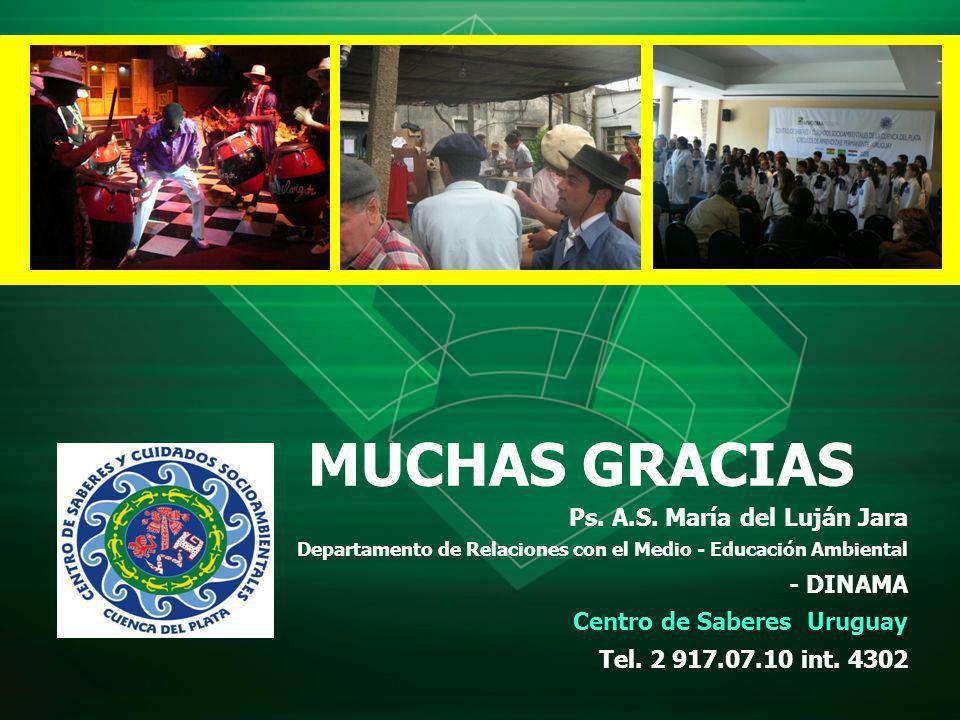 MUCHAS GRACIAS Ps. A.S. María del Luján Jara Departamento de Relaciones con el Medio - Educación Ambiental - DINAMA Centro de Saberes Uruguay Tel. 2 9