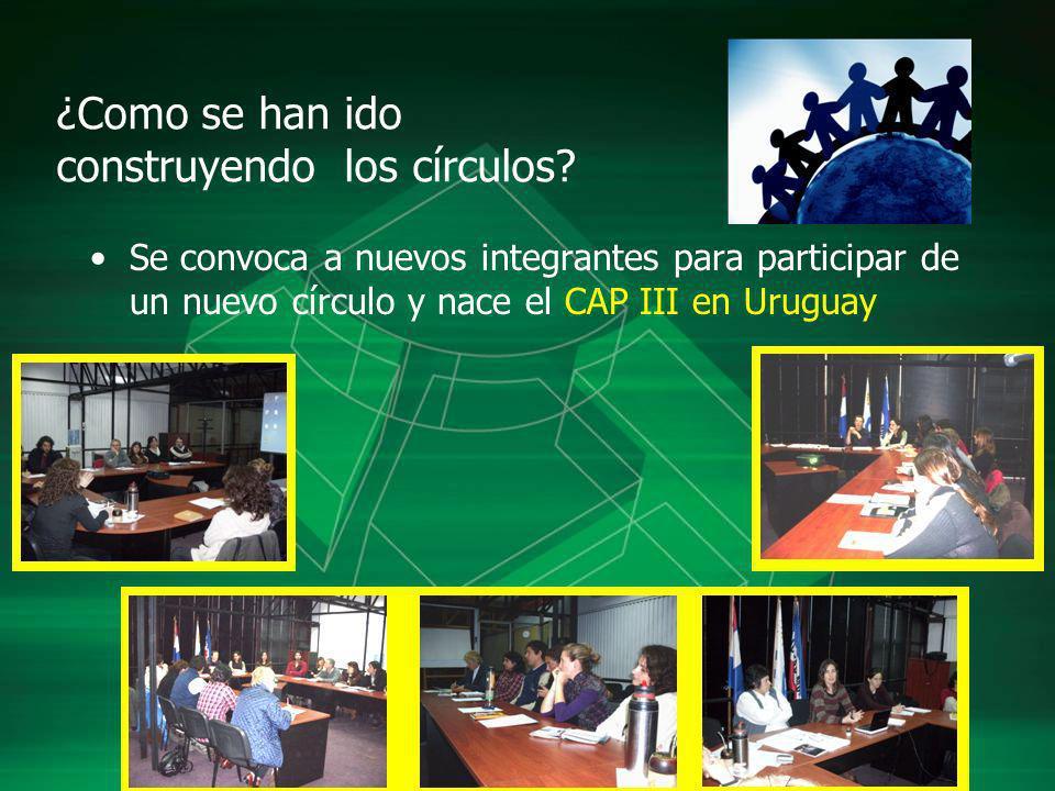 ¿Como se han ido construyendo los círculos? Se convoca a nuevos integrantes para participar de un nuevo círculo y nace el CAP III en Uruguay