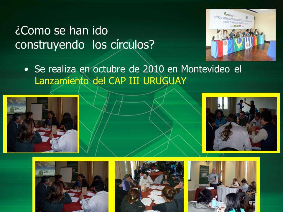 ¿Como se han ido construyendo los círculos? Se realiza en octubre de 2010 en Montevideo el Lanzamiento del CAP III URUGUAY