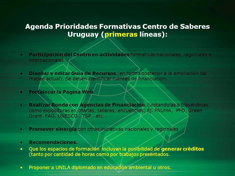 Agenda Prioridades Formativas Centro de Saberes Uruguay (primeras líneas): Participación del Centro en actividades formativas nacionales, regionales e