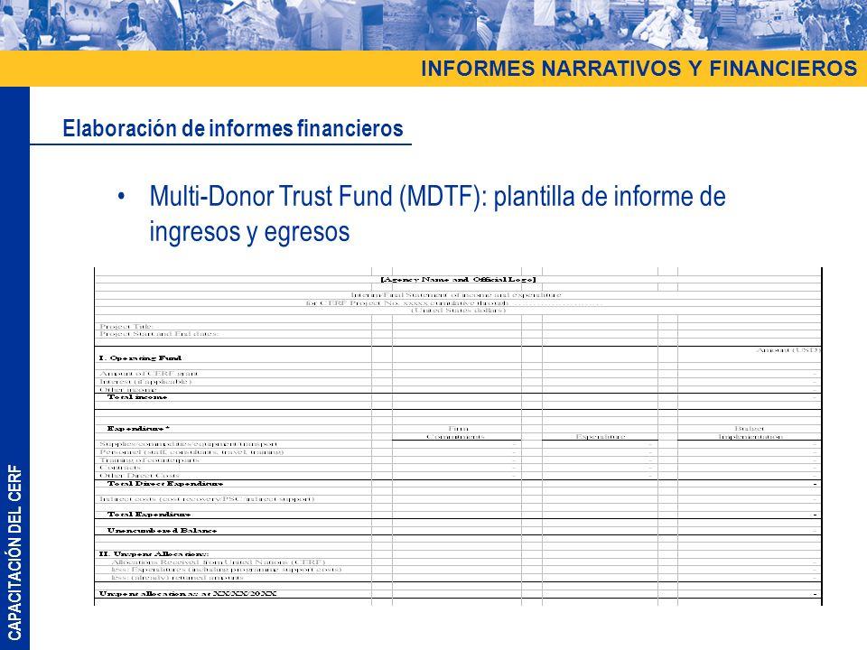 CAPACITACIÓN DEL CERF Multi-Donor Trust Fund (MDTF): plantilla de informe de ingresos y egresos Elaboración de informes financieros INFORMES NARRATIVO