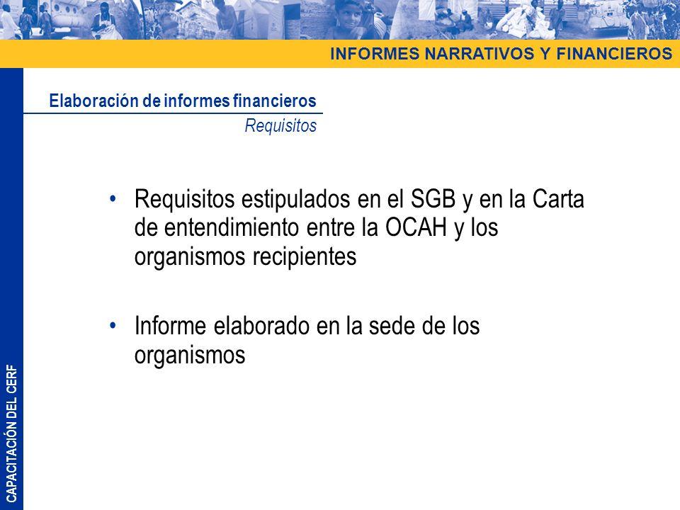 CAPACITACIÓN DEL CERF Requisitos estipulados en el SGB y en la Carta de entendimiento entre la OCAH y los organismos recipientes Informe elaborado en