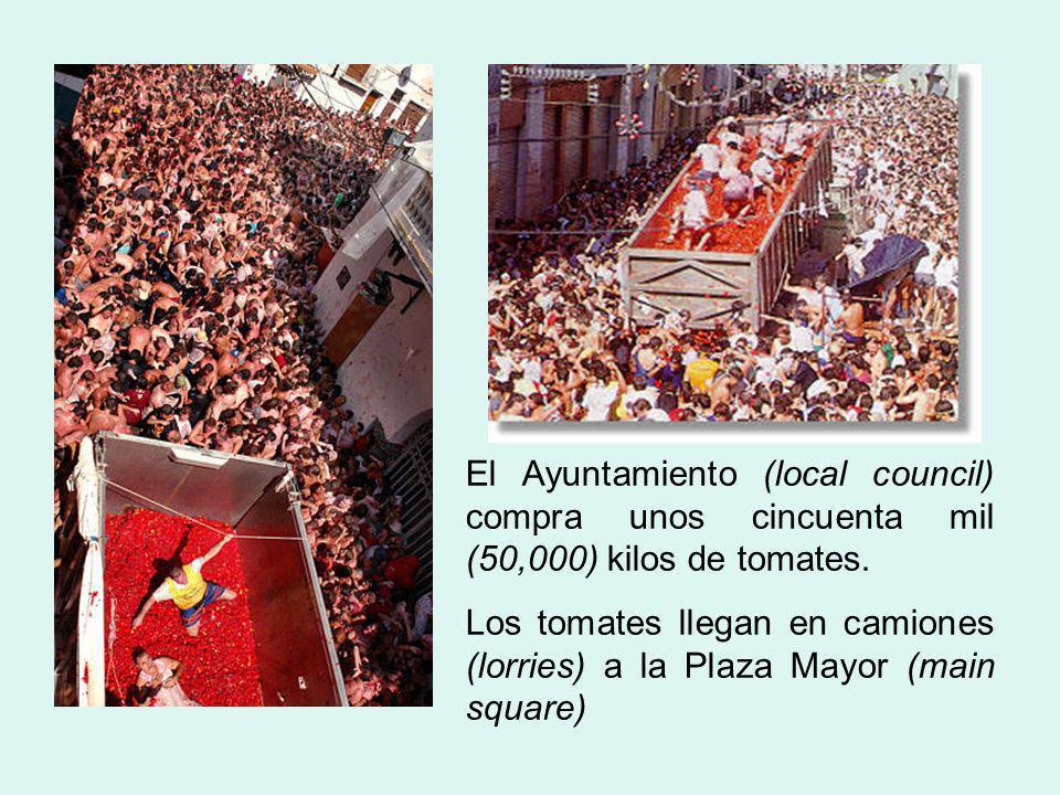 El Ayuntamiento (local council) compra unos cincuenta mil (50,000) kilos de tomates. Los tomates llegan en camiones (lorries) a la Plaza Mayor (main s