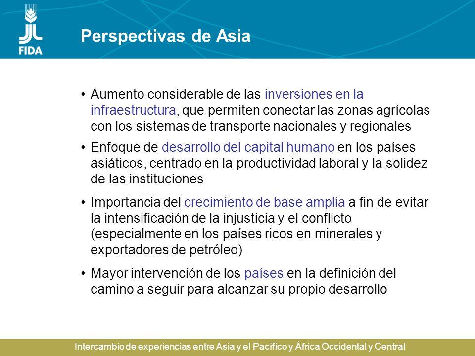 Intercambio de experiencias entre Asia y el Pacífico y África Occidental y Central Perspectivas de Asia Aumento considerable de las inversiones en la
