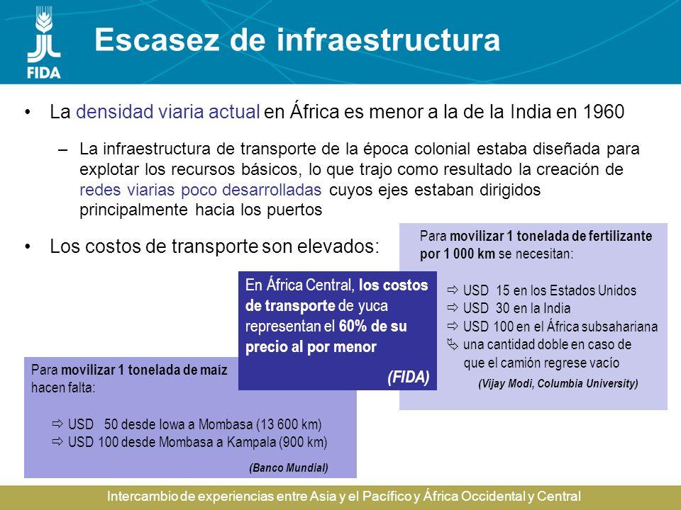 Intercambio de experiencias entre Asia y el Pacífico y África Occidental y Central Escasez de infraestructura La densidad viaria actual en África es m