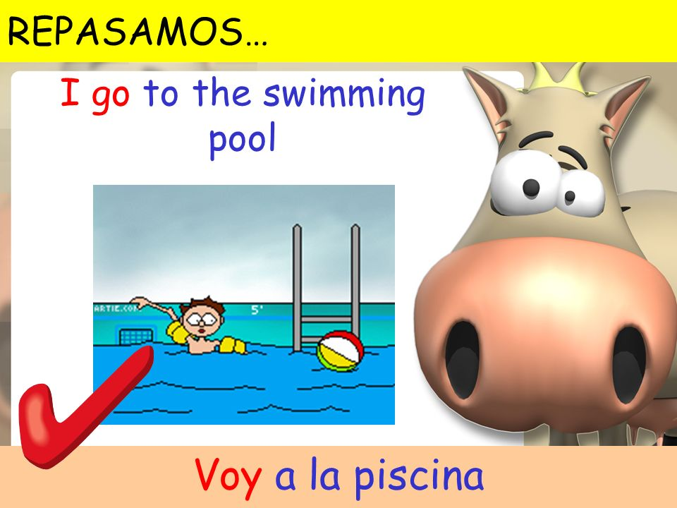 Voy a la piscina I go to the swimming pool REPASAMOS…