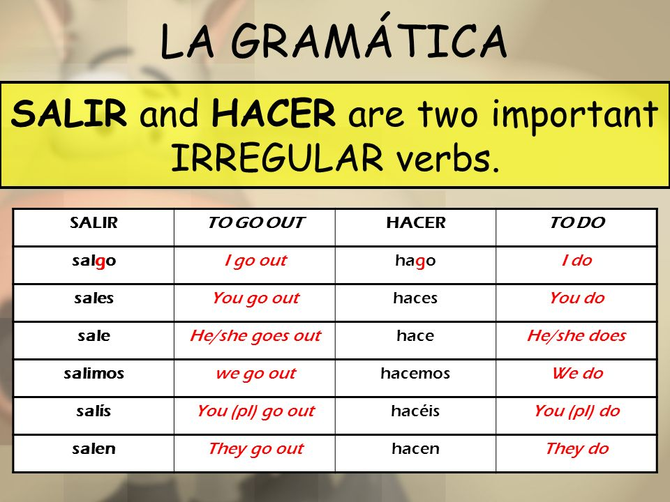 LA GRAMÁTICA SALIR and HACER are two important IRREGULAR verbs. SALIRTO GO OUTHACERTO DO salgoI go outhagoI do salesYou go outhacesYou do saleHe/she g