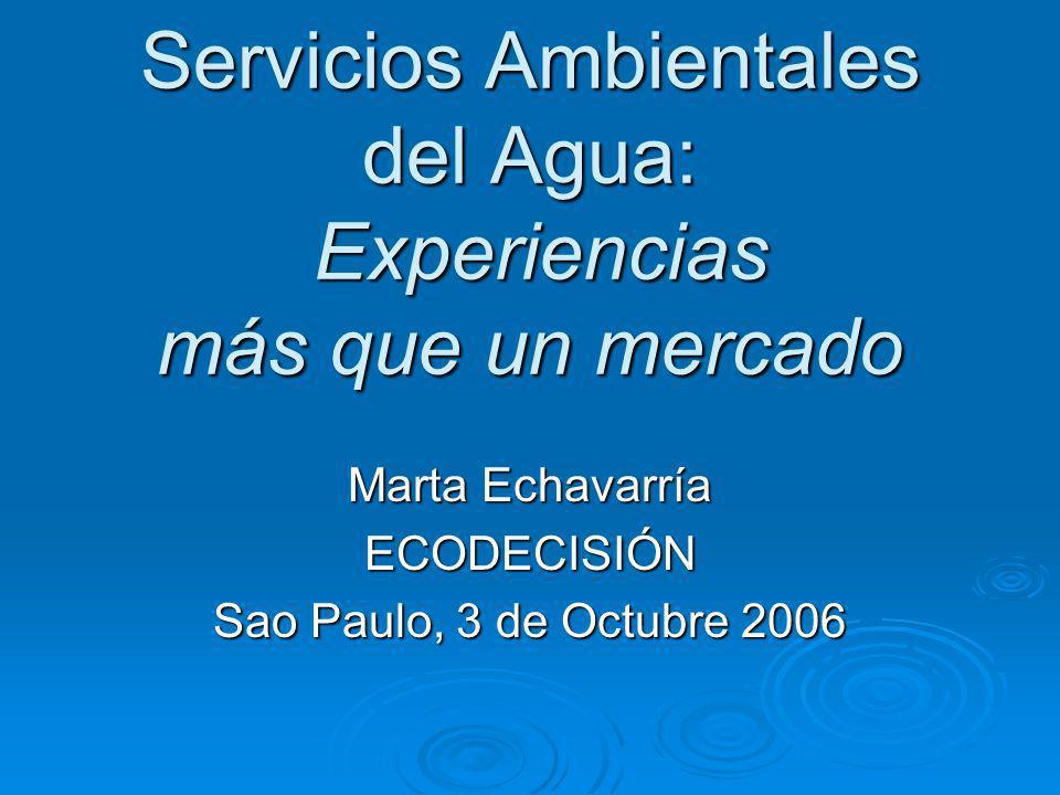 Servicios Ambientales del Agua: Experiencias más que un mercado Marta Echavarría ECODECISIÓN Sao Paulo, 3 de Octubre 2006