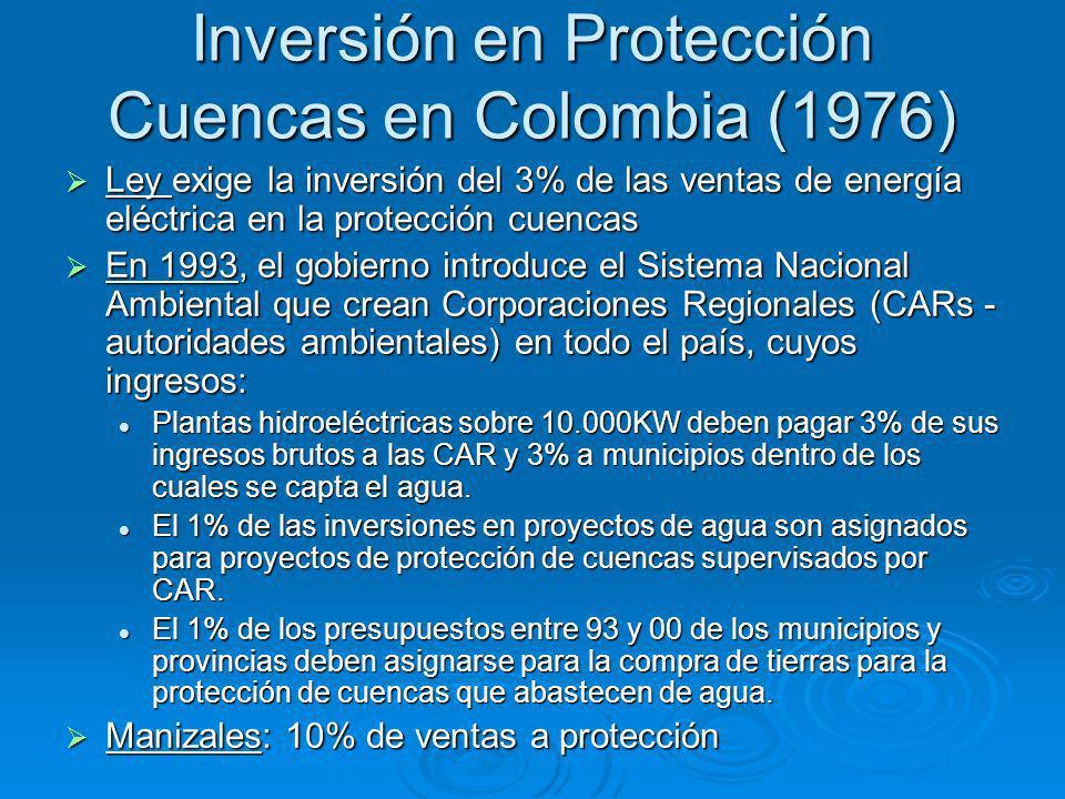 Inversión en Protección Cuencas en Colombia (1976) Ley exige la inversión del 3% de las ventas de energía eléctrica en la protección cuencas Ley exige la inversión del 3% de las ventas de energía eléctrica en la protección cuencas En 1993, el gobierno introduce el Sistema Nacional Ambiental que crean Corporaciones Regionales (CARs - autoridades ambientales) en todo el país, cuyos ingresos: En 1993, el gobierno introduce el Sistema Nacional Ambiental que crean Corporaciones Regionales (CARs - autoridades ambientales) en todo el país, cuyos ingresos: Plantas hidroeléctricas sobre 10.000KW deben pagar 3% de sus ingresos brutos a las CAR y 3% a municipios dentro de los cuales se capta el agua.
