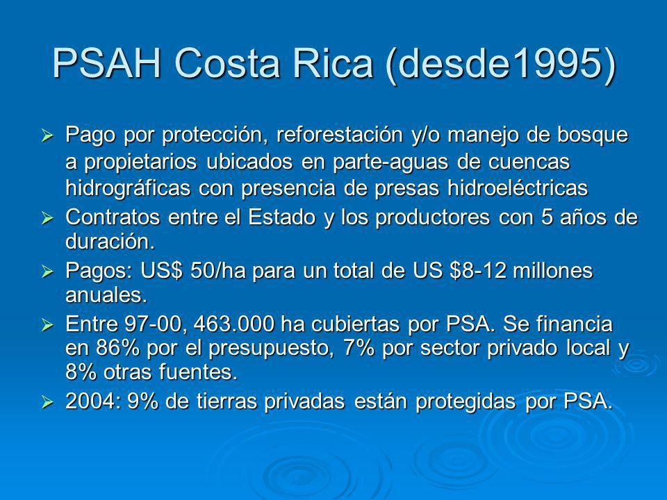PSAH Costa Rica (desde1995) Pago por protección, reforestación y/o manejo de bosque a propietarios ubicados en parte-aguas de cuencas hidrográficas con presencia de presas hidroeléctricas Pago por protección, reforestación y/o manejo de bosque a propietarios ubicados en parte-aguas de cuencas hidrográficas con presencia de presas hidroeléctricas Contratos entre el Estado y los productores con 5 años de duración.