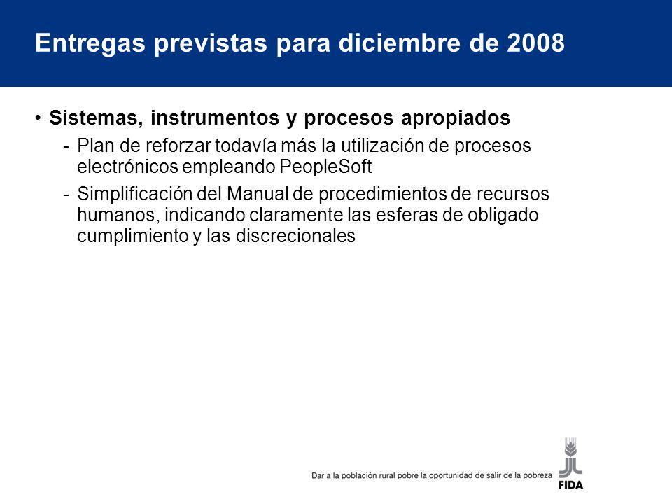 Entregas previstas para diciembre de 2008 Sistemas, instrumentos y procesos apropiados -Plan de reforzar todavía más la utilización de procesos electrónicos empleando PeopleSoft -Simplificación del Manual de procedimientos de recursos humanos, indicando claramente las esferas de obligado cumplimiento y las discrecionales