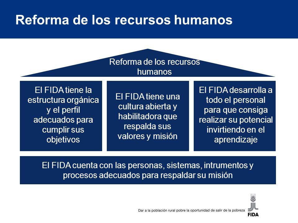 Reforma de los recursos humanos El FIDA tiene la estructura orgánica y el perfil adecuados para cumplir sus objetivos El FIDA tiene una cultura abierta y habilitadora que respalda sus valores y misión El FIDA desarrolla a todo el personal para que consiga realizar su potencial invirtiendo en el aprendizaje El FIDA cuenta con las personas, sistemas, intrumentos y procesos adecuados para respaldar su misión