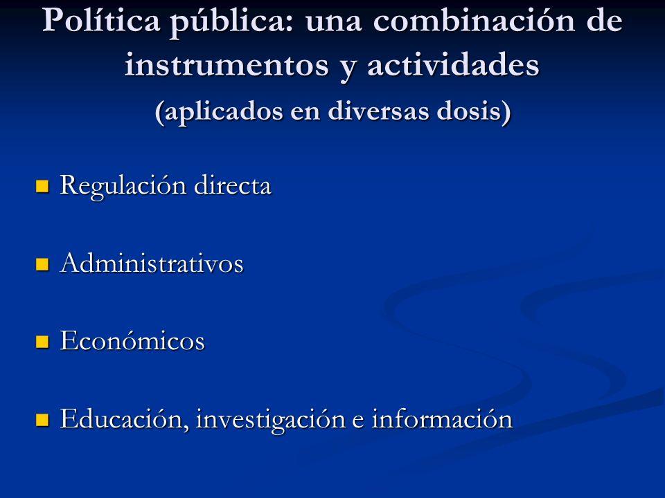 Política pública: una combinación de instrumentos y actividades (aplicados en diversas dosis) Regulación directa Regulación directa Administrativos Ad