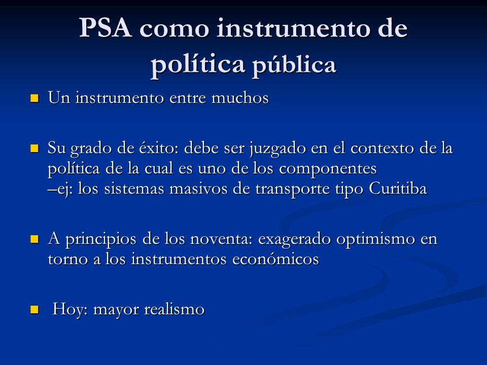 PSA como instrumento de política pública Un instrumento entre muchos Un instrumento entre muchos Su grado de éxito: debe ser juzgado en el contexto de