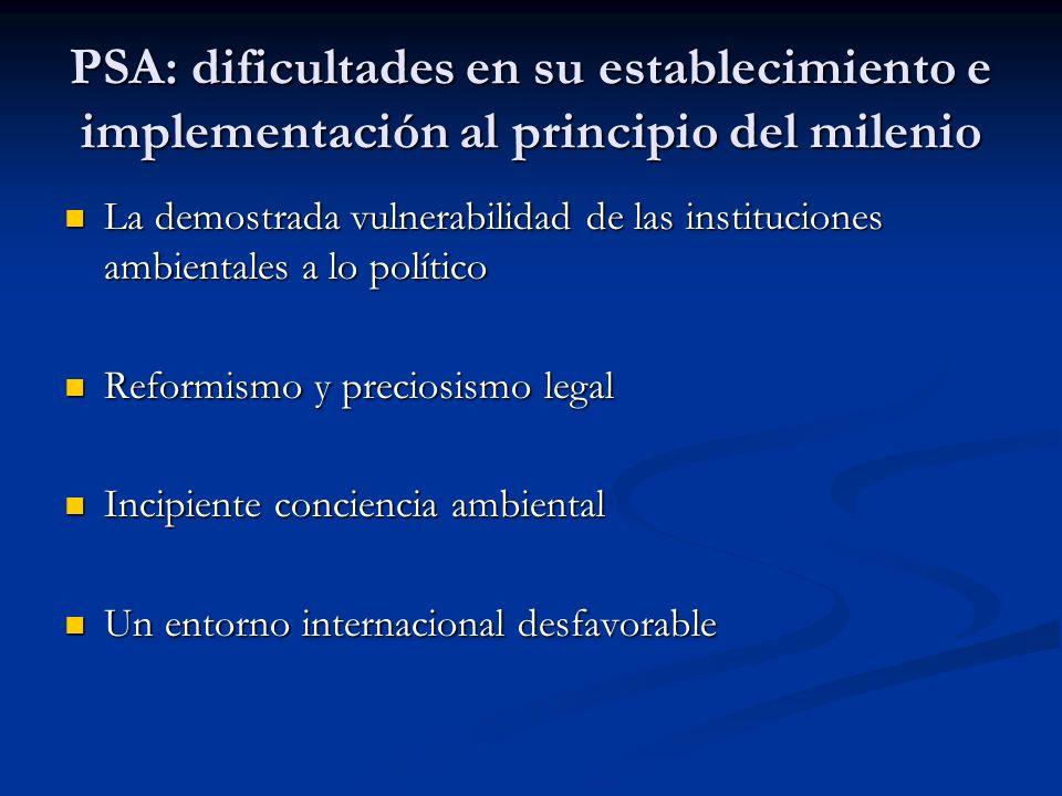 PSA: dificultades en su establecimiento e implementación al principio del milenio La demostrada vulnerabilidad de las instituciones ambientales a lo p