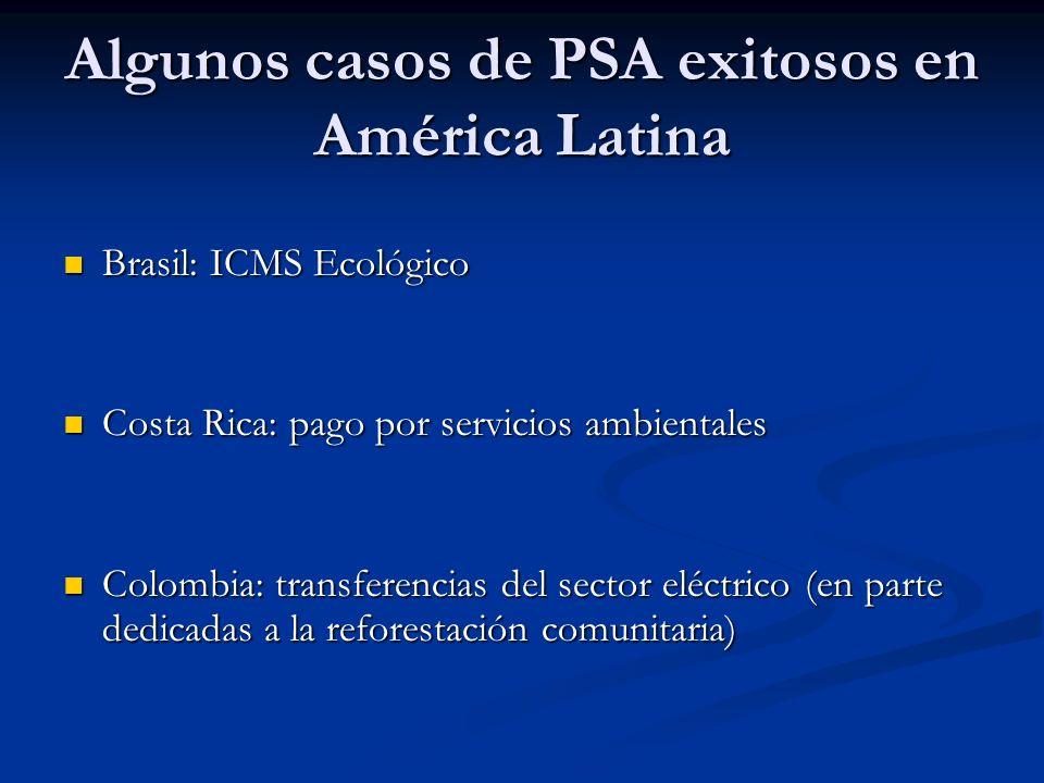 Algunos casos de PSA exitosos en América Latina Brasil: ICMS Ecológico Brasil: ICMS Ecológico Costa Rica: pago por servicios ambientales Costa Rica: p