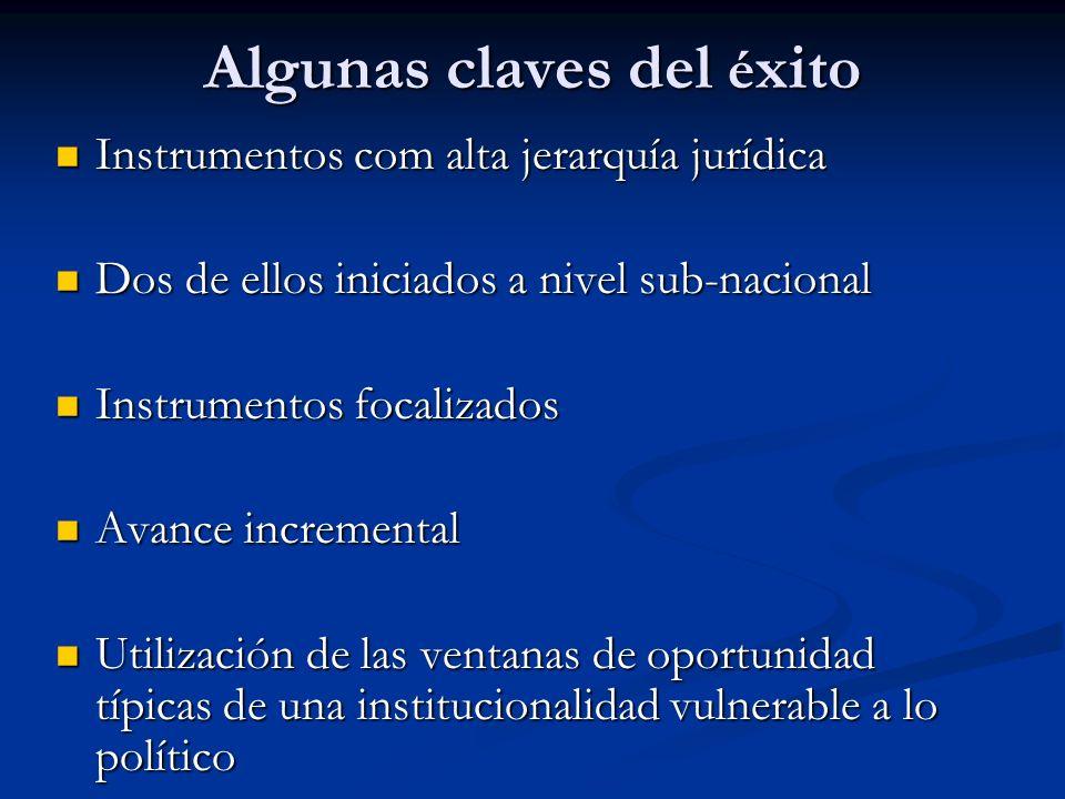 Algunas claves del é xito Instrumentos com alta jerarquía jurídica Instrumentos com alta jerarquía jurídica Dos de ellos iniciados a nivel sub-naciona