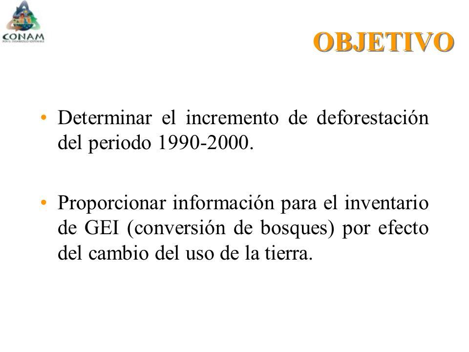 OBJETIVO Determinar el incremento de deforestación del periodo 1990-2000.