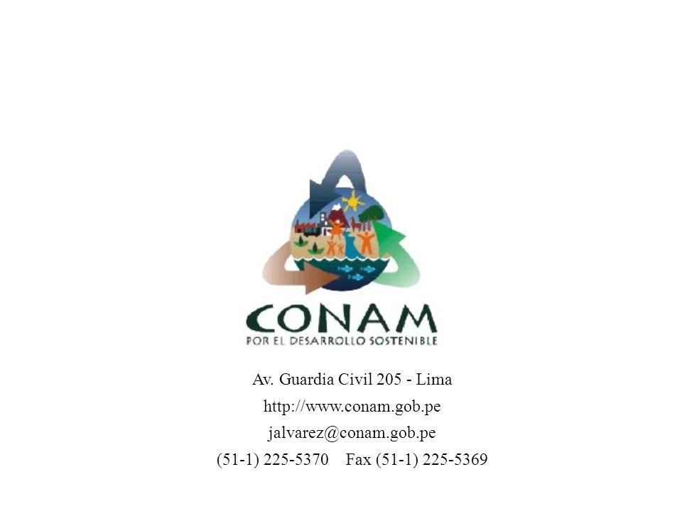 Av. Guardia Civil 205 - Lima http://www.conam.gob.pe jalvarez@conam.gob.pe (51-1) 225-5370 Fax (51-1) 225-5369