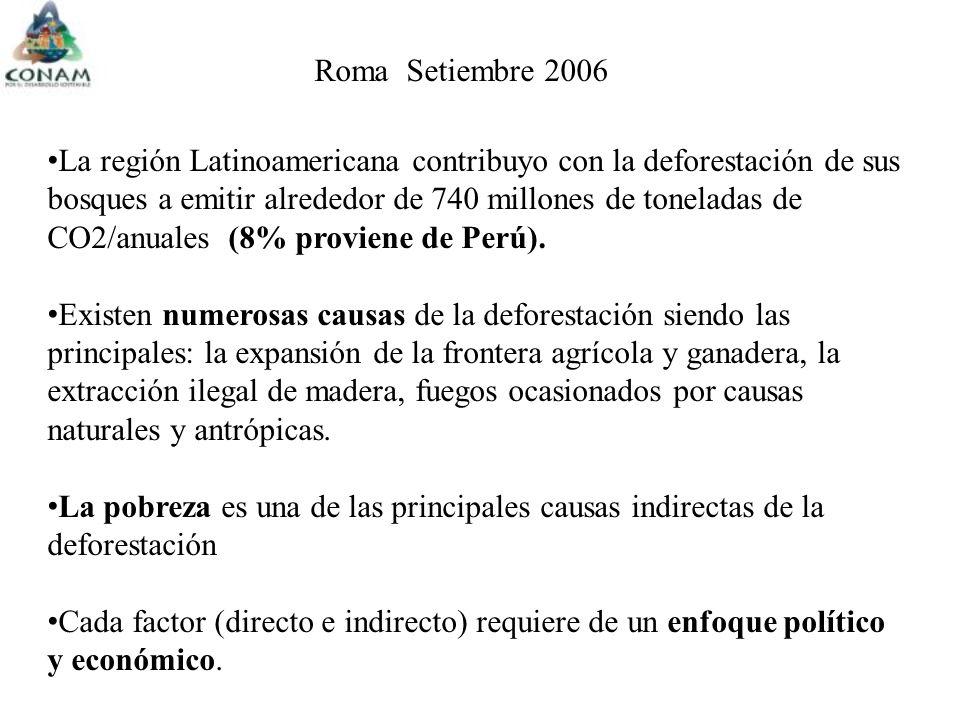 Roma Setiembre 2006 La región Latinoamericana contribuyo con la deforestación de sus bosques a emitir alrededor de 740 millones de toneladas de CO2/anuales (8% proviene de Perú).