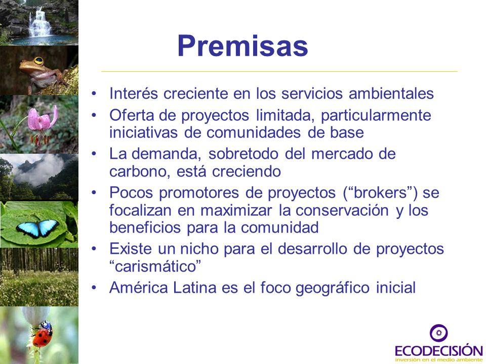 Surgimiento del mercado de servicios ambientales Mitigación de Cambio Climático - Global: –Mercado de servicios ambientales fortalecido, en términos de volumen de comercio, demanda, y medidas estandarizadas por unidad de comercio (CERs o TCO2e) Protección de cuencas hidrográficas – grupo de servicios de ecosistemas – local: –Acción voluntaria de los usuarios de agua –Marco legal nacional en algunos países (MX, Co, Br, CR) –Las medidas aun están por definirse, existen datos limitados confiables Conservación de Biodiversidad – Global/Local: –Preocupación pública y privada por la pérdida de biodiversidad –Acción voluntaria –Requerimientos legales a pequeña escala para compensar los impactos en la biodiversidad.