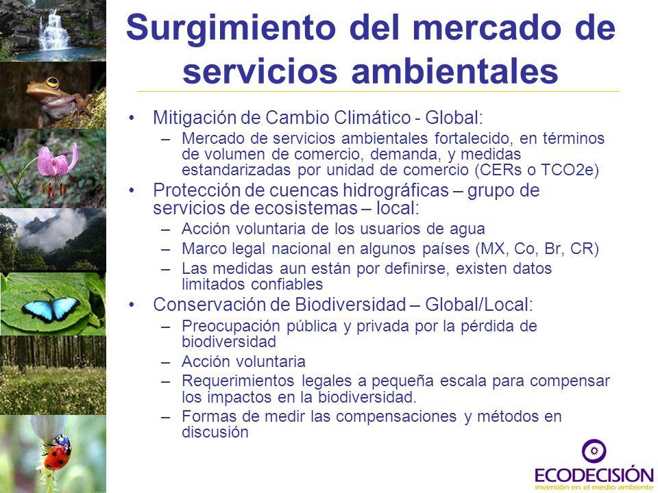 Surgimiento del mercado de servicios ambientales Mitigación de Cambio Climático - Global: –Mercado de servicios ambientales fortalecido, en términos d