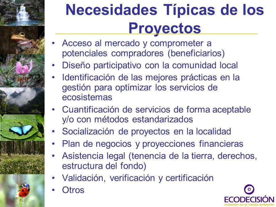 Necesidades Típicas de los Proyectos Acceso al mercado y comprometer a potenciales compradores (beneficiarios) Diseño participativo con la comunidad l