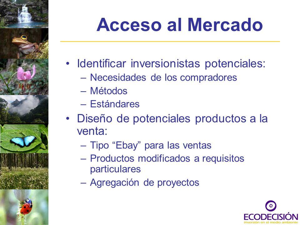 Acceso al Mercado Identificar inversionistas potenciales: –Necesidades de los compradores –Métodos –Estándares Diseño de potenciales productos a la ve