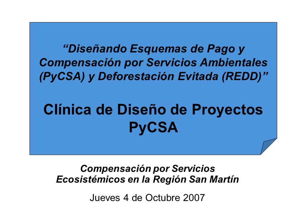 Compensación por Servicios Ecosistémicos en la Región San Martín Jueves 4 de Octubre 2007 Diseñando Esquemas de Pago y Compensación por Servicios Ambi