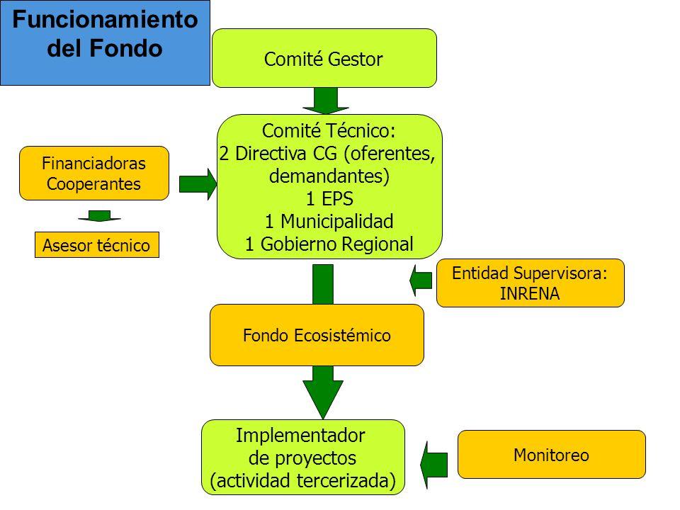 Funcionamiento del Fondo Comité Gestor Comité Técnico: 2 Directiva CG (oferentes, demandantes) 1 EPS 1 Municipalidad 1 Gobierno Regional Financiadoras