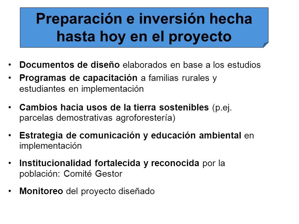 Documentos de diseño elaborados en base a los estudios Programas de capacitación a familias rurales y estudiantes en implementación Cambios hacia usos
