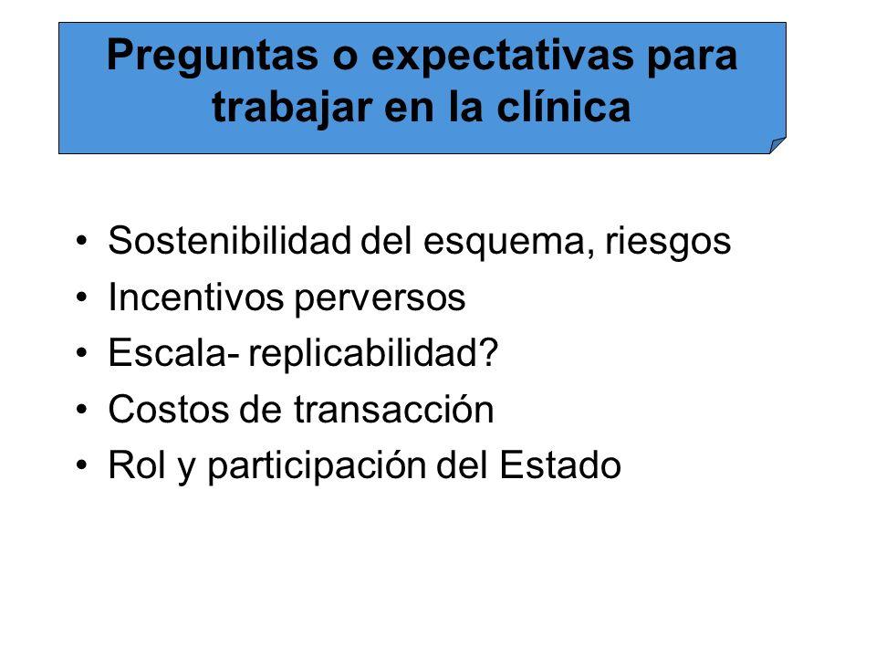 Sostenibilidad del esquema, riesgos Incentivos perversos Escala- replicabilidad? Costos de transacción Rol y participación del Estado Preguntas o expe