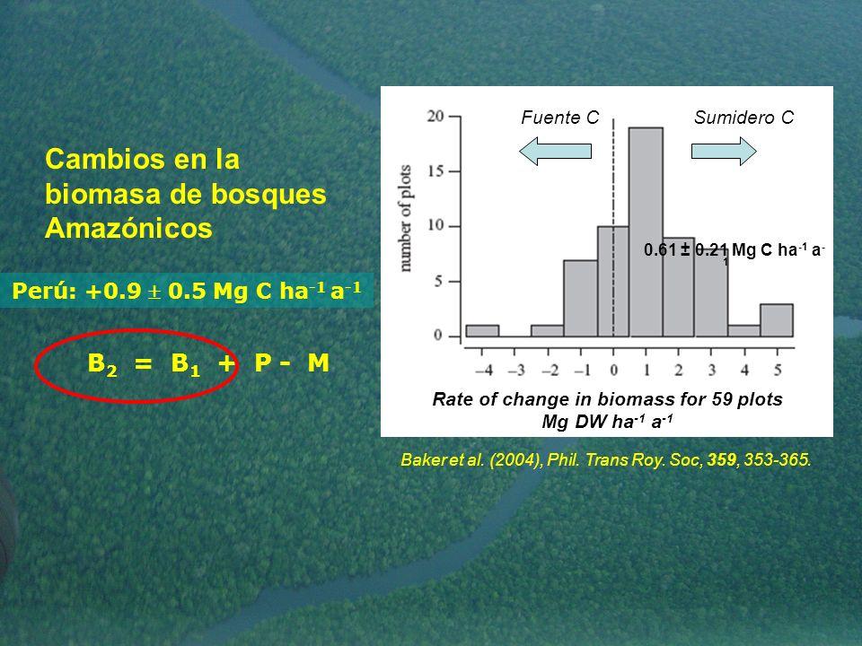 Cambios en la biomasa de bosques Amazónicos Rate of change in biomass for 59 plots Mg DW ha -1 a -1 Baker et al. (2004), Phil. Trans Roy. Soc, 359, 35