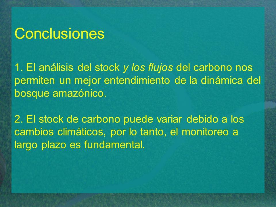 Conclusiones 1. El análisis del stock y los flujos del carbono nos permiten un mejor entendimiento de la dinámica del bosque amazónico. 2. El stock de