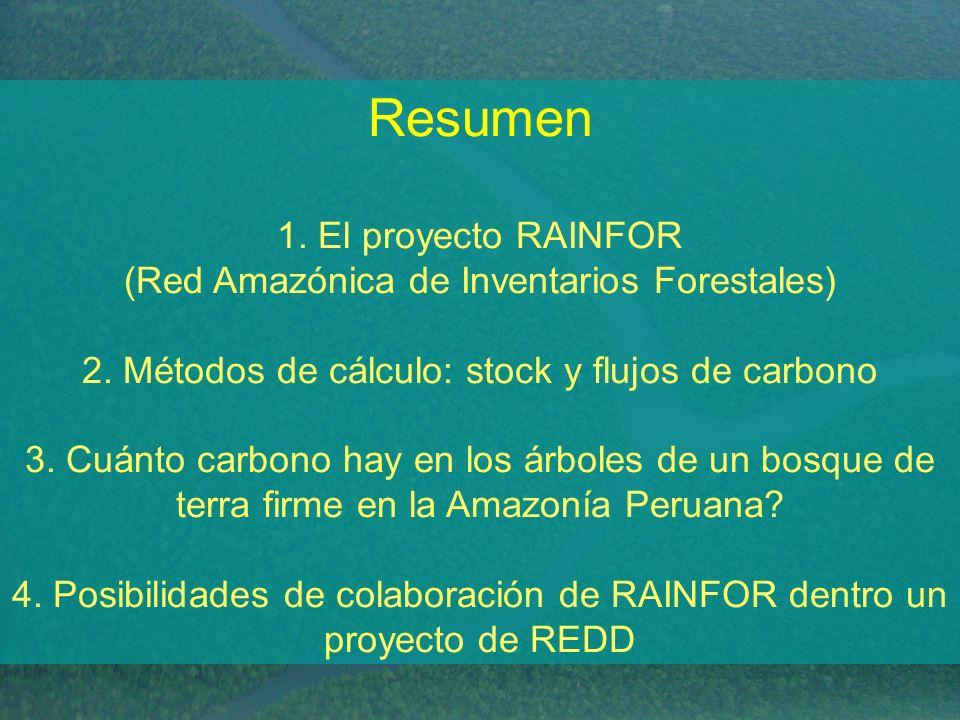 Resumen 1. El proyecto RAINFOR (Red Amazónica de Inventarios Forestales) 2. Métodos de cálculo: stock y flujos de carbono 3. Cuánto carbono hay en los