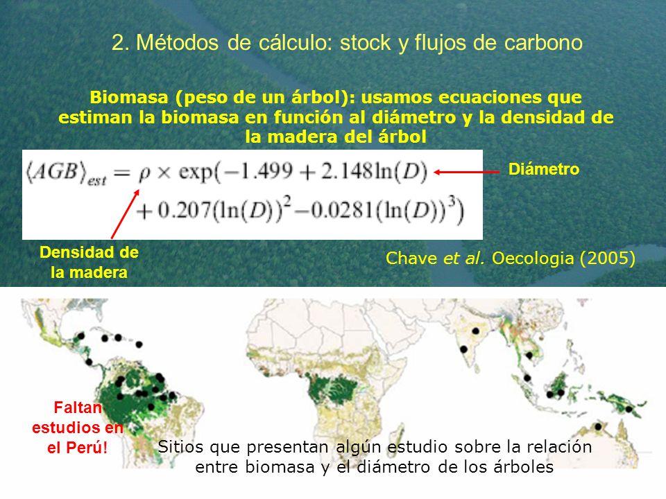 2. Métodos de cálculo: stock y flujos de carbono Biomasa (peso de un árbol): usamos ecuaciones que estiman la biomasa en función al diámetro y la dens