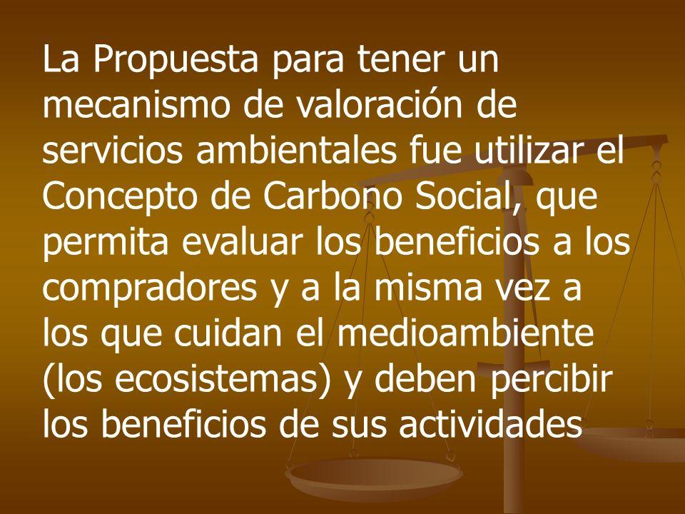 La Propuesta para tener un mecanismo de valoración de servicios ambientales fue utilizar el Concepto de Carbono Social, que permita evaluar los beneficios a los compradores y a la misma vez a los que cuidan el medioambiente (los ecosistemas) y deben percibir los beneficios de sus actividades