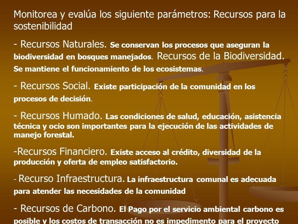 Monitorea y evalúa los siguiente parámetros: Recursos para la sostenibilidad - Recursos Naturales.
