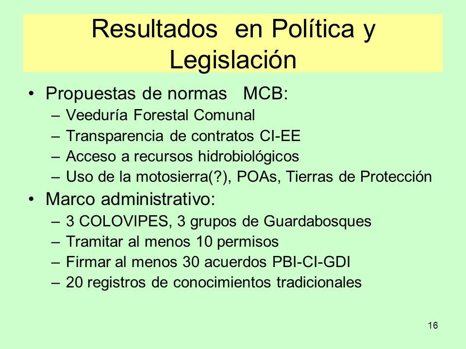 16 Resultados en Política y Legislación Propuestas de normas MCB: –Veeduría Forestal Comunal –Transparencia de contratos CI-EE –Acceso a recursos hidr