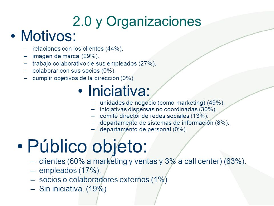 2.0 y Organizaciones Motivos: –relaciones con los clientes (44%). –imagen de marca (29%). –trabajo colaborativo de sus empleados (27%). –colaborar con