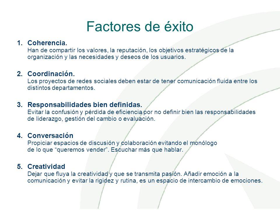 Factores de éxito 1.Coherencia. Han de compartir los valores, la reputación, los objetivos estratégicos de la organización y las necesidades y deseos