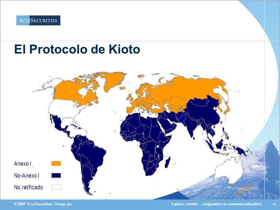 Carbon credits - origination to commercialisation© 2007 EcoSecurities Group plc 11 Anexo I El Protocolo de Kioto No-Anexo I No ratificado