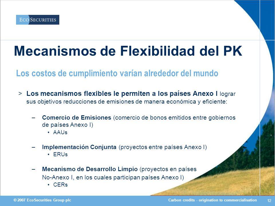 Carbon credits - origination to commercialisation© 2007 EcoSecurities Group plc 12 Mecanismos de Flexibilidad del PK >Los mecanismos flexibles le perm