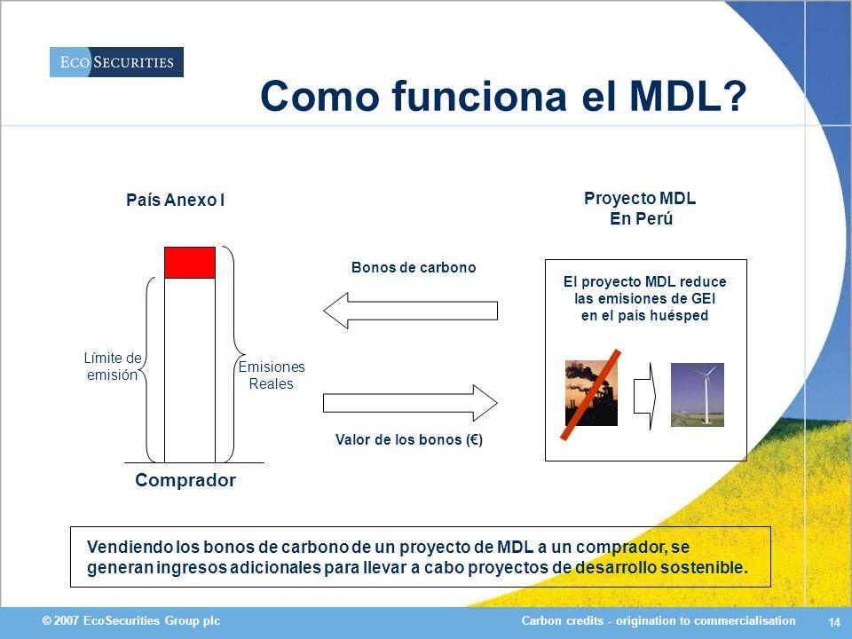 Carbon credits - origination to commercialisation© 2007 EcoSecurities Group plc 14 Como funciona el MDL? Vendiendo los bonos de carbono de un proyecto