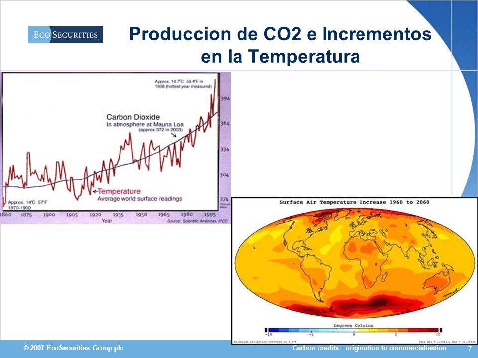 Carbon credits - origination to commercialisation© 2007 EcoSecurities Group plc 7 Produccion de CO2 e Incrementos en la Temperatura